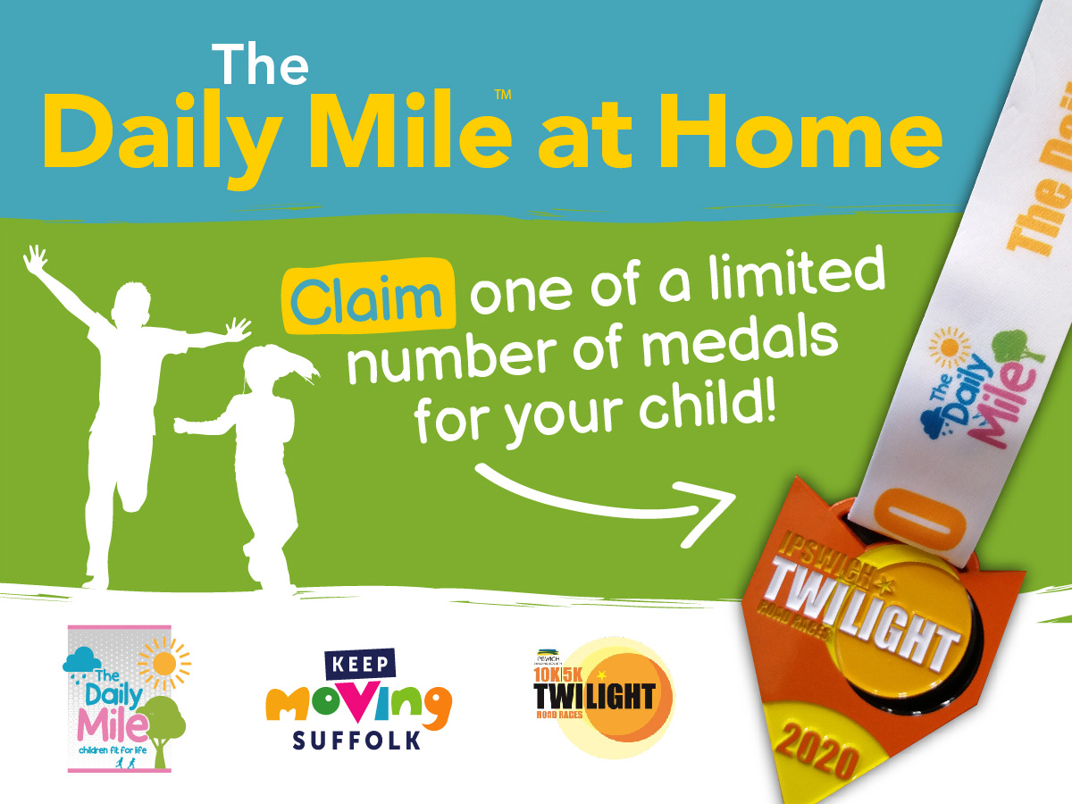 Daily Mile At Home logo and siloueets of children running