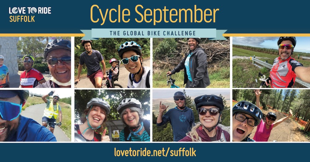 collage of cycling images with title Cycle September