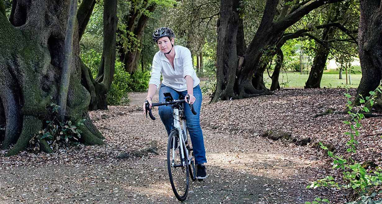 Lady cycling in park