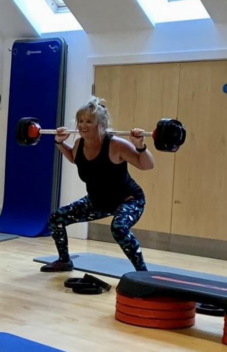 Bridget doing weight training