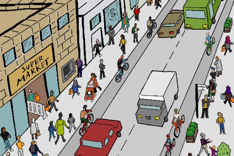 Cartoon image of busy street
