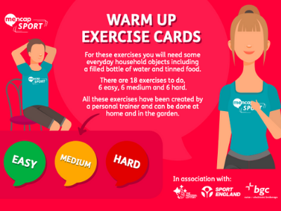 Warm up exercise cards image - people exercising