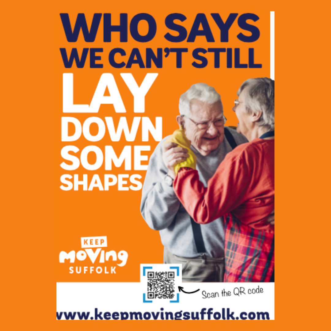 Poster of older couple dancing saying Who Says we can't still lay down some shapes