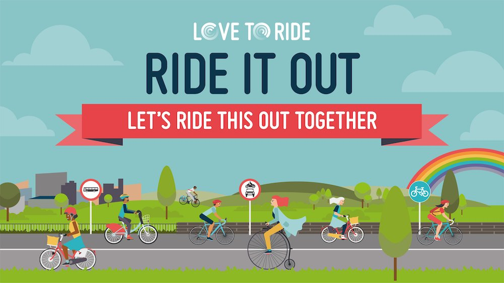 Ride it out logo scene of cyclists