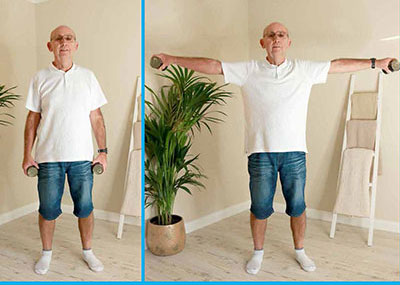 Man exercising with cans