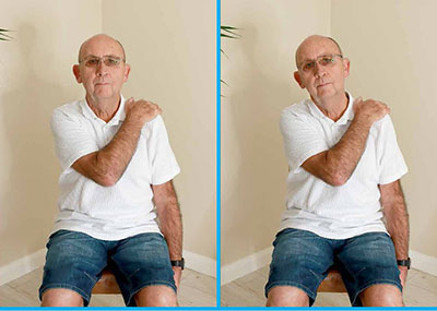 Man doing neck stretch exercise