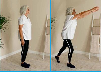 Lady doing tap backs leg exercise