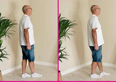 Man doing heel to toe walking exercise