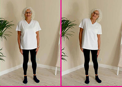 lady doing sideways bend exercise