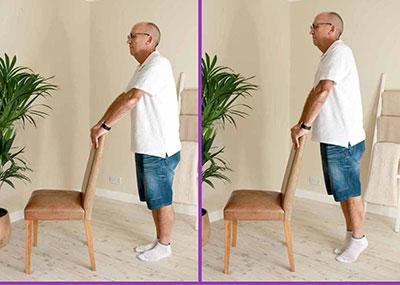 Man doing calf raises exercise