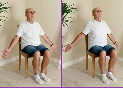 Man doing chest stretch exercise