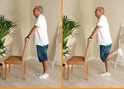 Man doing kick back exercises