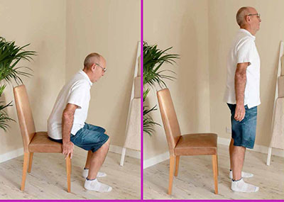 Man doing sit to stand exercise