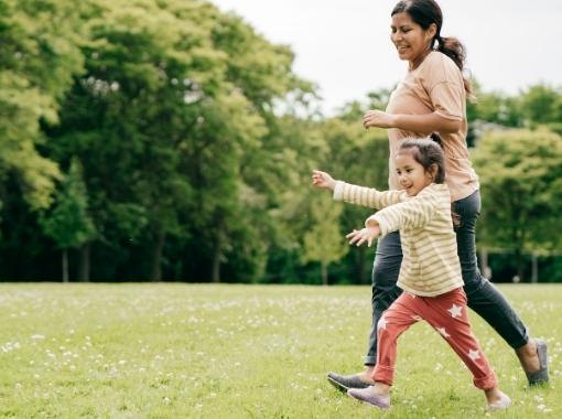 mum and daughter running