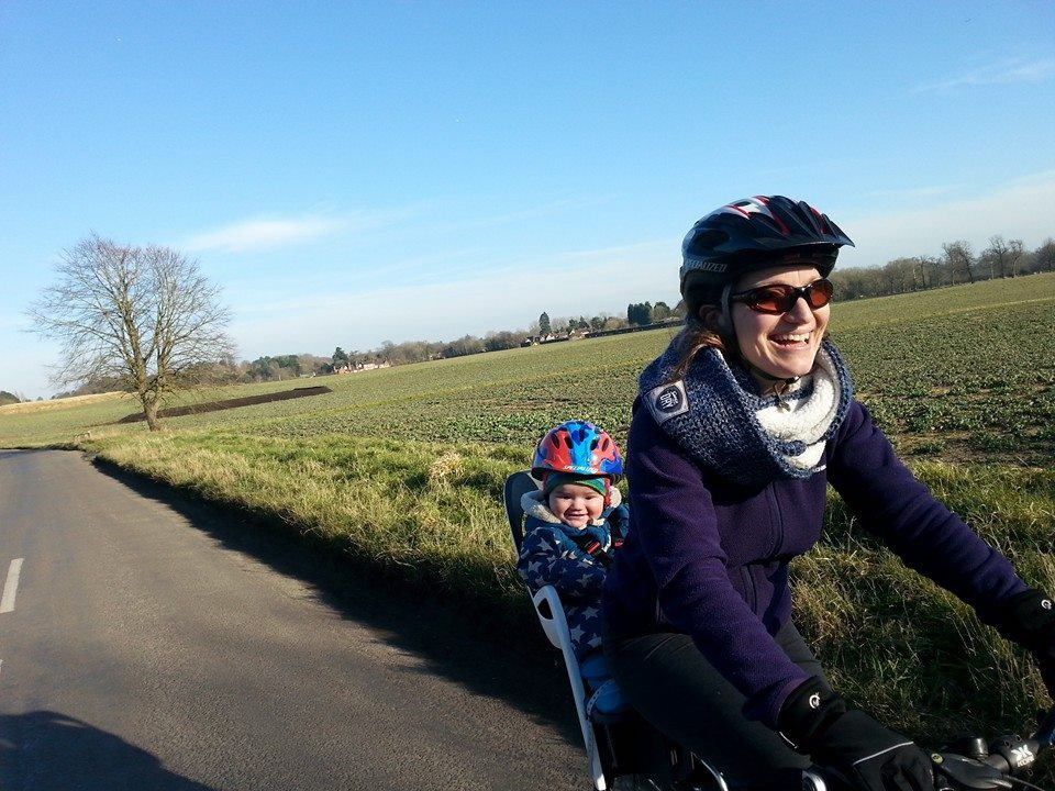 Gayle and daughter on bike